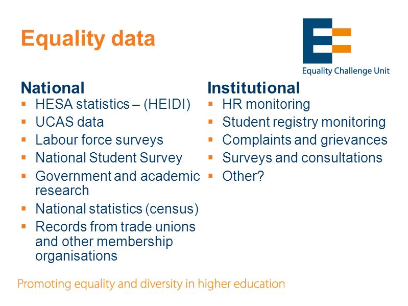 Equality data National HESA statistics – (HEIDI) UCAS data Labour force surveys National Student Survey Government and academic research National statistics (census) Records from trade unions and other membership organisations Institutional HR monitoring Student registry monitoring Complaints and grievances Surveys and consultations Other
