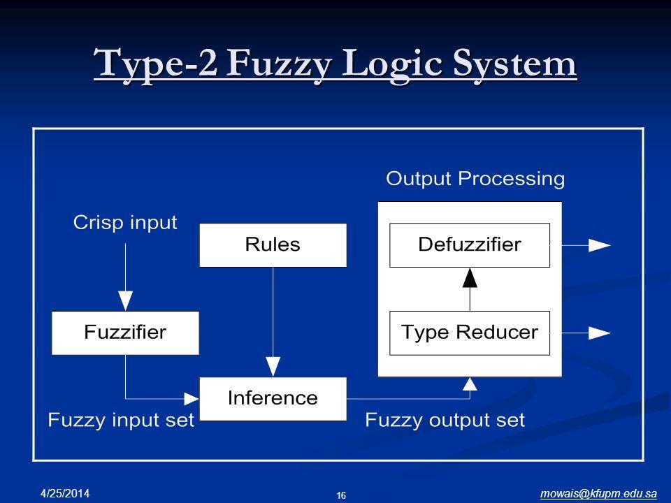mowais@kfupm.edu.sa4/25/2014 16 Type-2 Fuzzy Logic System