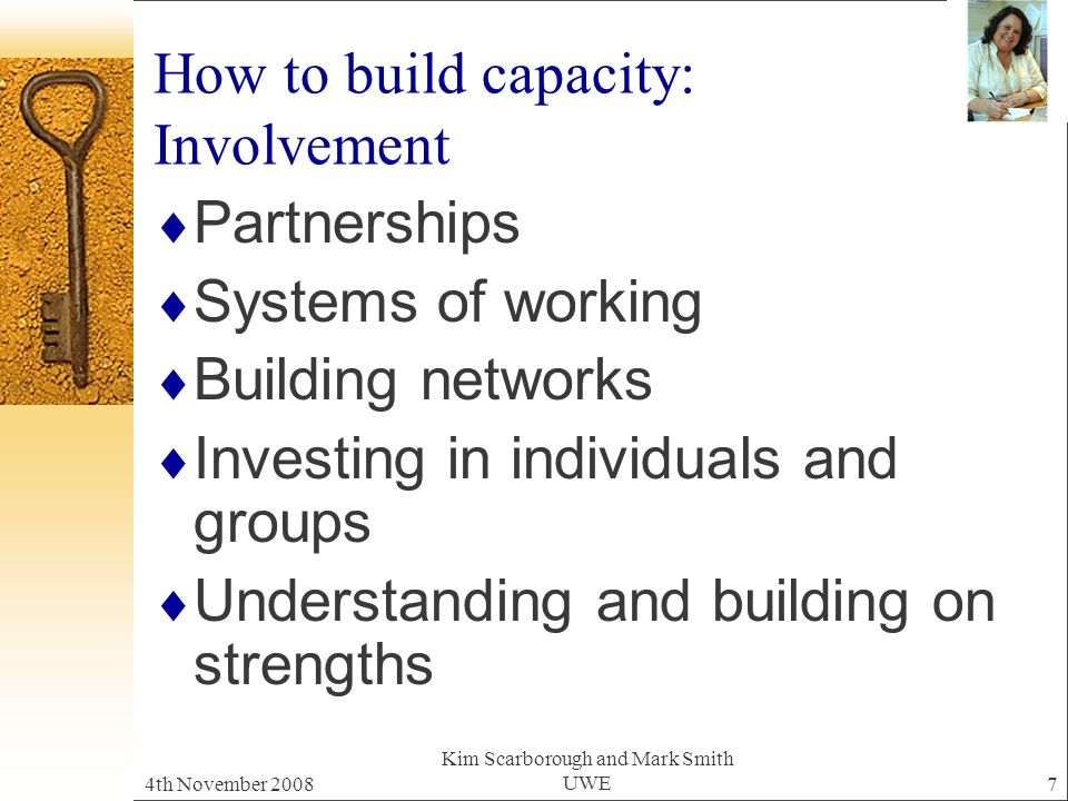 4th November 2008 Kim Scarborough and Mark Smith UWE7 How to build capacity: Involvement Partnerships Systems of working Building networks Investing in individuals and groups Understanding and building on strengths