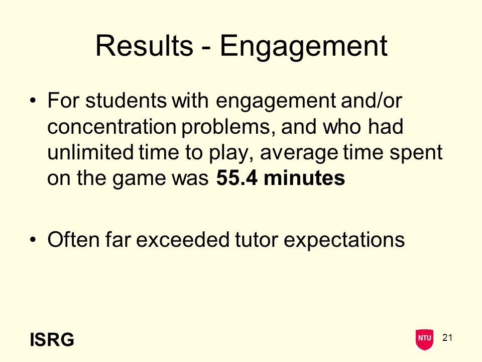 ISRG 21 Results - Engagement For students with engagement and/or concentration problems, and who had unlimited time to play, average time spent on the game was 55.4 minutes Often far exceeded tutor expectations