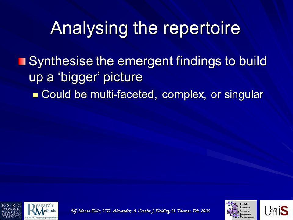©J. Moran-Ellis; V.D. Alexander; A. Cronin; J. Fielding; H. Thomas. Feb. 2006 20 Analysing the repertoire Synthesise the emergent findings to build up