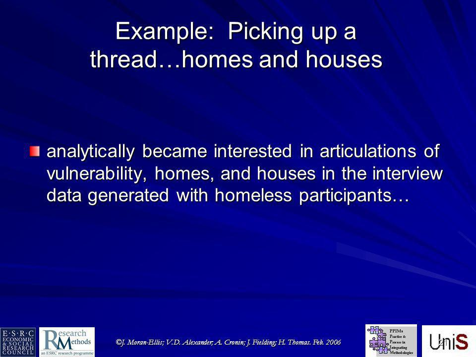 ©J. Moran-Ellis; V.D. Alexander; A. Cronin; J. Fielding; H. Thomas. Feb. 2006 21 Example: Picking up a thread…homes and houses analytically became int