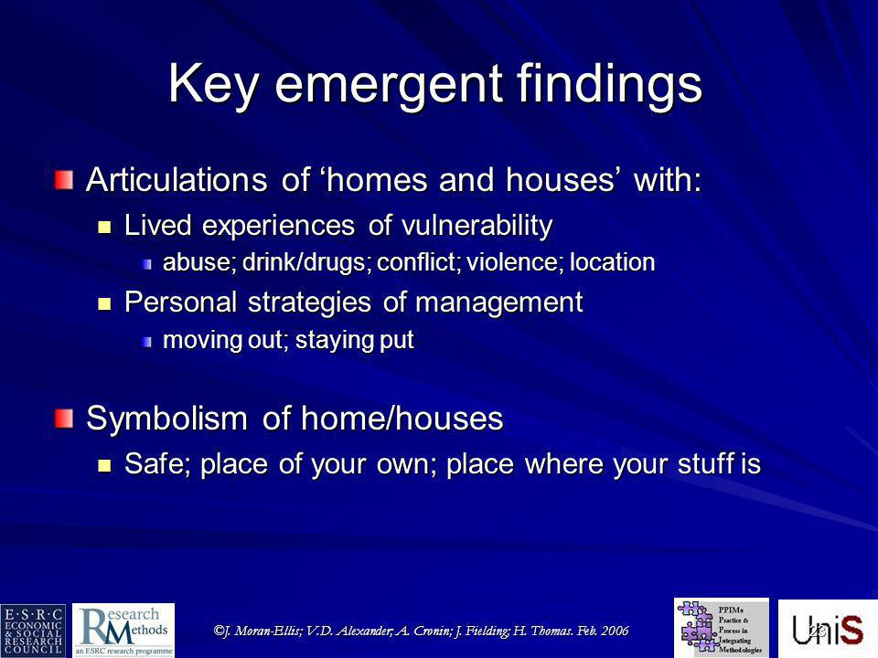 ©J. Moran-Ellis; V.D. Alexander; A. Cronin; J. Fielding; H. Thomas. Feb. 2006 23 Key emergent findings Articulations of homes and houses with: Lived e