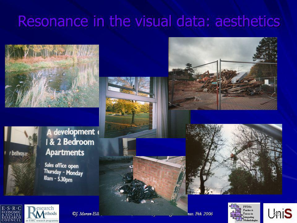 ©J. Moran-Ellis; V.D. Alexander; A. Cronin; J. Fielding; H. Thomas. Feb. 2006 26 Resonance in the visual data: aesthetics