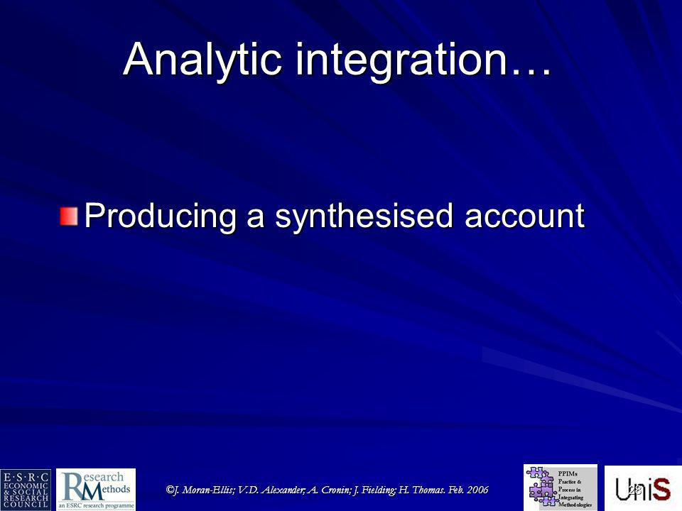©J. Moran-Ellis; V.D. Alexander; A. Cronin; J. Fielding; H. Thomas. Feb. 2006 28 Analytic integration… Producing a synthesised account