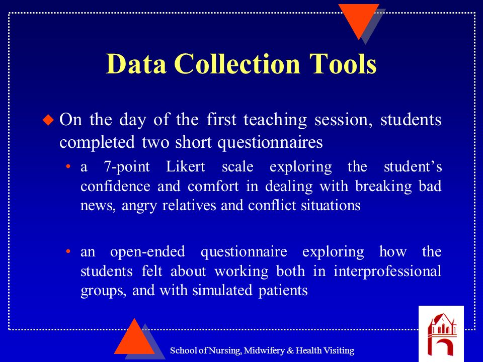 School of Nursing, Midwifery & Health Visiting Data Collection Tools u On the day of the first teaching session, students completed two short question