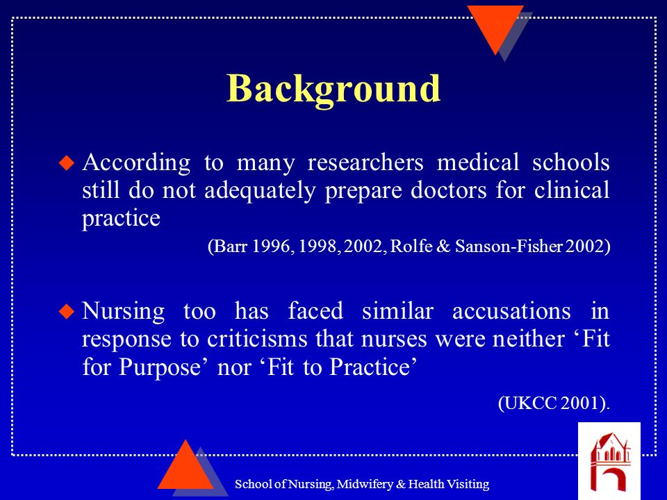 School of Nursing, Midwifery & Health Visiting Background u According to many researchers medical schools still do not adequately prepare doctors for