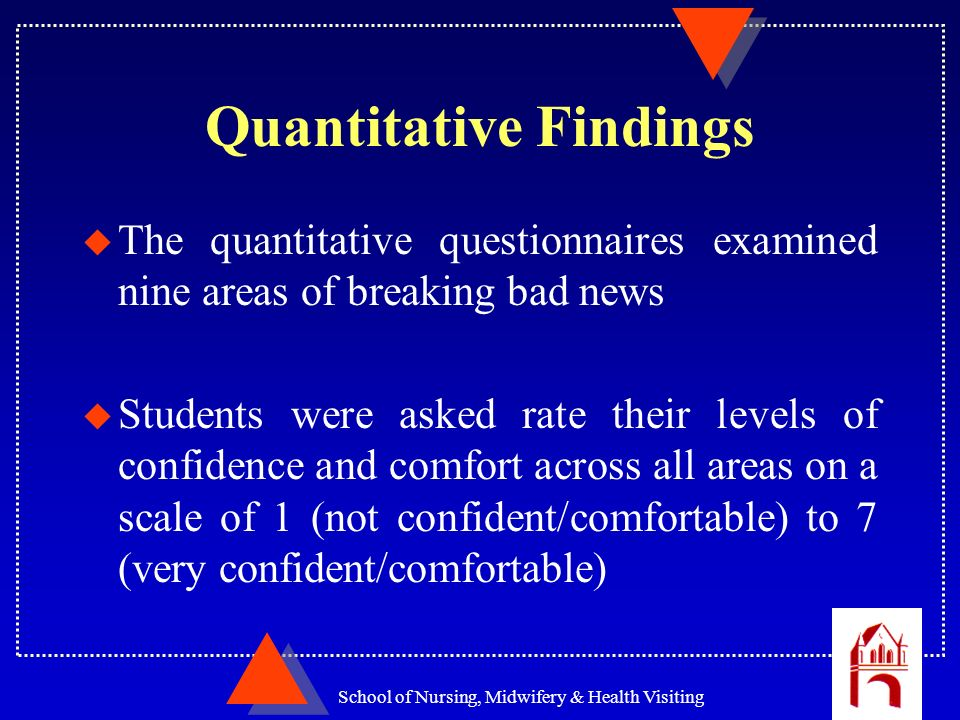 School of Nursing, Midwifery & Health Visiting Quantitative Findings u The quantitative questionnaires examined nine areas of breaking bad news u Stud
