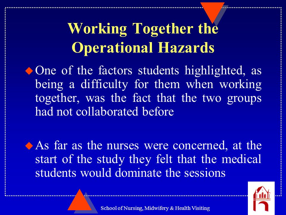 School of Nursing, Midwifery & Health Visiting Working Together the Operational Hazards u One of the factors students highlighted, as being a difficul