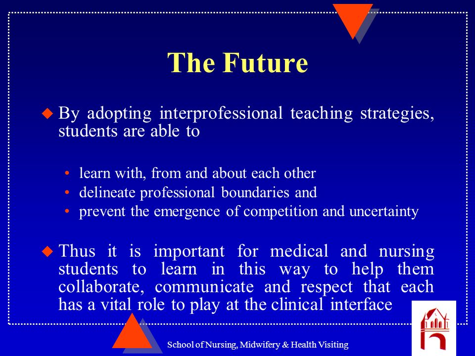 School of Nursing, Midwifery & Health Visiting The Future u By adopting interprofessional teaching strategies, students are able to learn with, from a