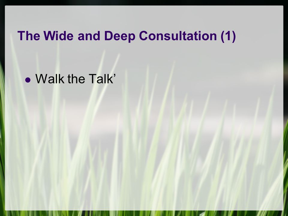 The Wide and Deep Consultation (1) Walk the Talk