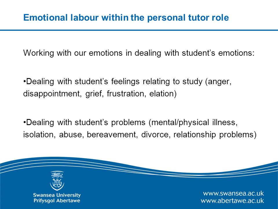 Emotional labour within the personal tutor role Working with our emotions in dealing with students emotions: Dealing with students feelings relating to study (anger, disappointment, grief, frustration, elation) Dealing with students problems (mental/physical illness, isolation, abuse, bereavement, divorce, relationship problems)