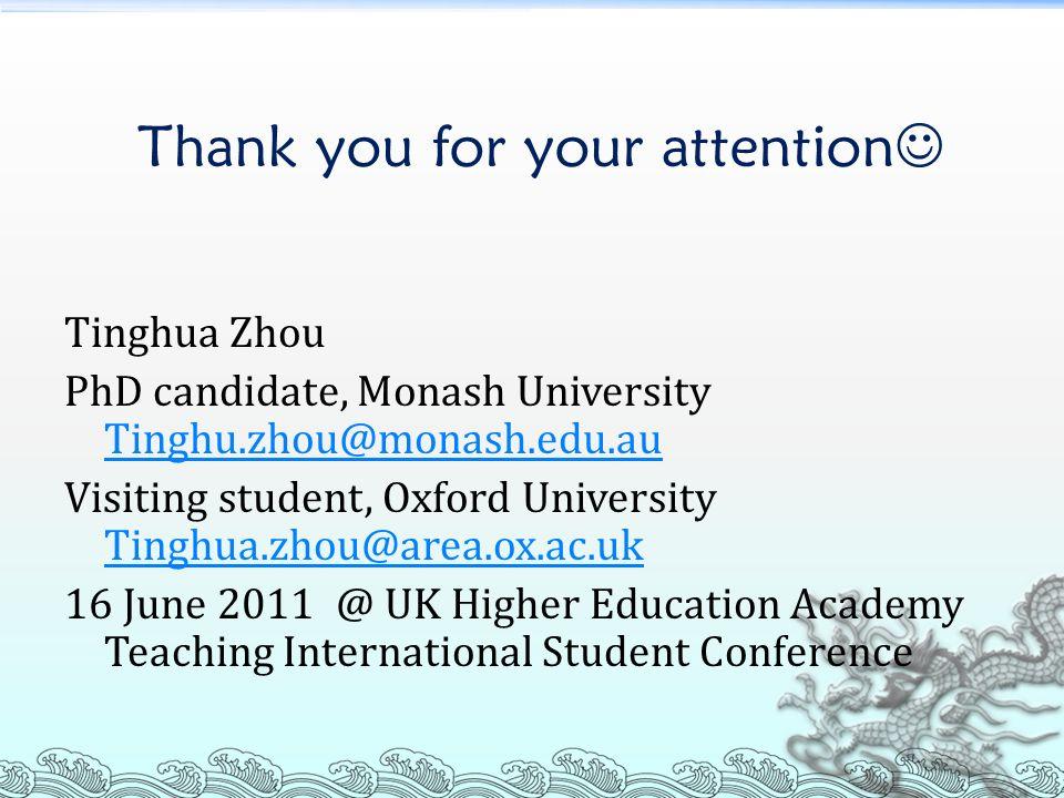 Thank you for your attention Tinghua Zhou PhD candidate, Monash University Tinghu.zhou@monash.edu.au Tinghu.zhou@monash.edu.au Visiting student, Oxfor