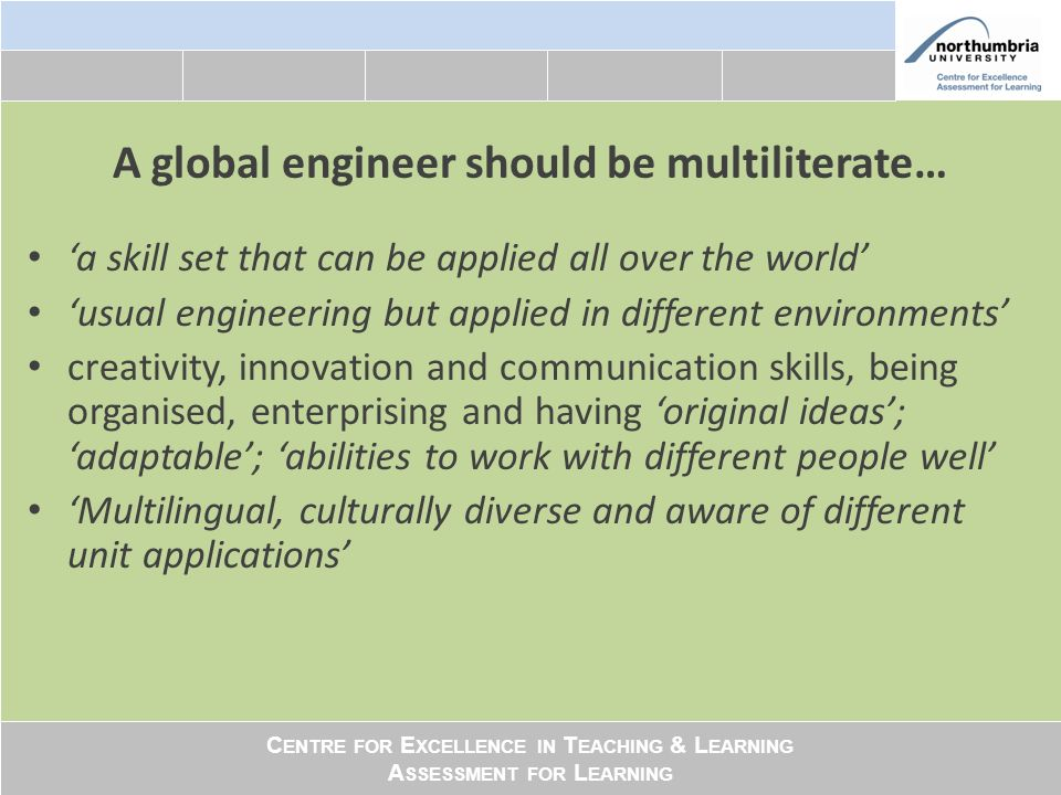 C ENTRE FOR E XCELLENCE IN T EACHING & L EARNING A SSESSMENT FOR L EARNING A global engineer should be multiliterate… a skill set that can be applied all over the world usual engineering but applied in different environments creativity, innovation and communication skills, being organised, enterprising and having original ideas; adaptable; abilities to work with different people well Multilingual, culturally diverse and aware of different unit applications