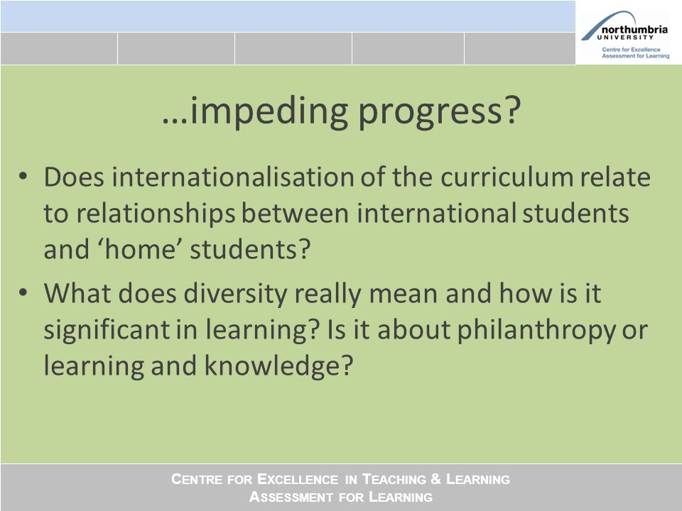 C ENTRE FOR E XCELLENCE IN T EACHING & L EARNING A SSESSMENT FOR L EARNING …impeding progress.