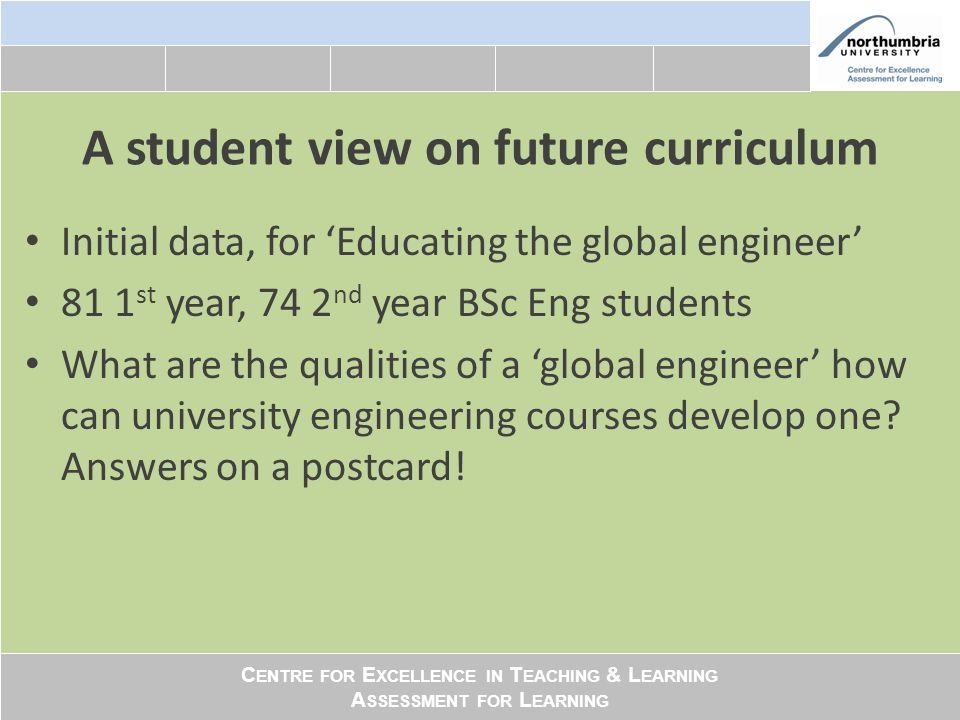 C ENTRE FOR E XCELLENCE IN T EACHING & L EARNING A SSESSMENT FOR L EARNING The postcard data Responses analysed with NVivo: three themes emerged: Interdisciplinarity Multiliteracy Boundary crossing