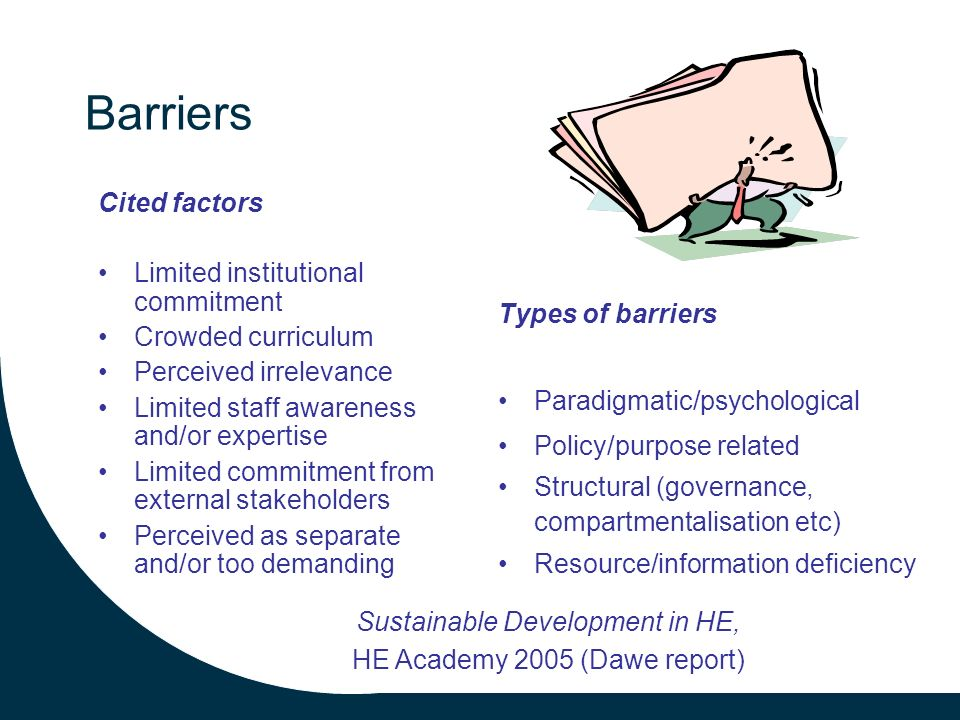 Barriers Cited factors Limited institutional commitment Crowded curriculum Perceived irrelevance Limited staff awareness and/or expertise Limited commitment from external stakeholders Perceived as separate and/or too demanding Types of barriers Paradigmatic/psychological Policy/purpose related Structural (governance, compartmentalisation etc) Resource/information deficiency Sustainable Development in HE, HE Academy 2005 (Dawe report)