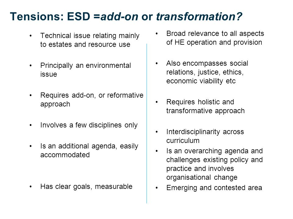 Tensions: ESD =add-on or transformation.