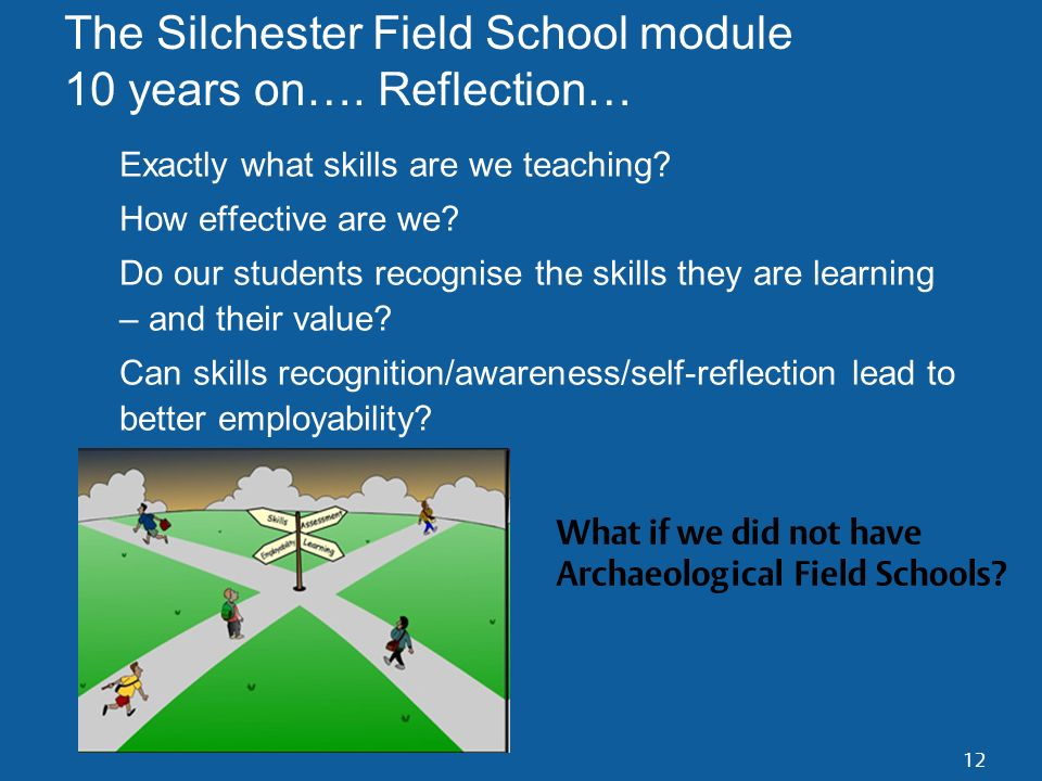 12 The Silchester Field School module 10 years on…. Reflection… Exactly what skills are we teaching? How effective are we? Do our students recognise t