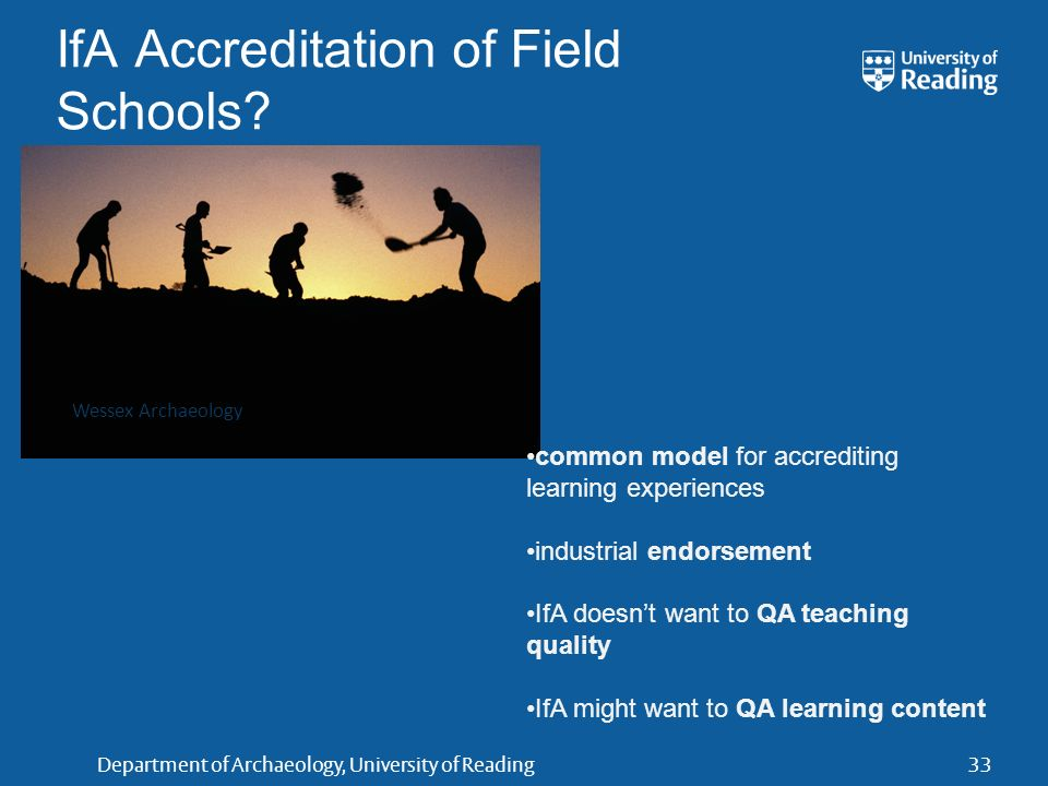Department of Archaeology, University of Reading33 IfA Accreditation of Field Schools.