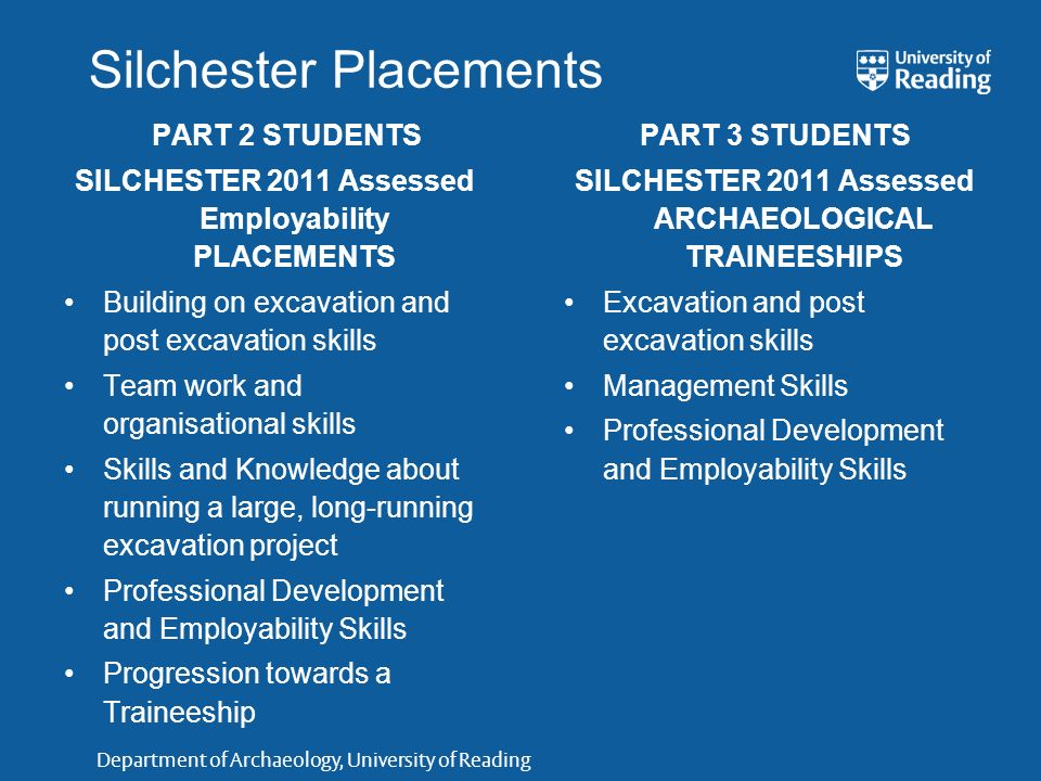 Department of Archaeology, University of Reading Silchester Placements PART 2 STUDENTS SILCHESTER 2011 Assessed Employability PLACEMENTS Building on e