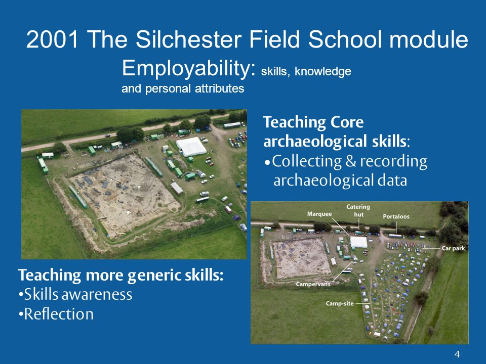 Department of Archaeology, University of Reading Lessons for Silchester: ASSESSMENT Interactive database quiz – 5% Daily practical assessment - 40% Self evaluation report – 30% An on-site test– 25% Tension between the acquisition of specific archaeological skills and the acquisition of generic skills How to assess generic skills