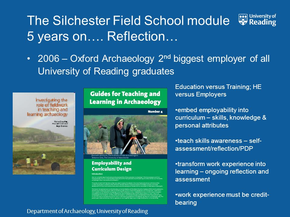 Department of Archaeology, University of Reading ATLAS: some results READINGYORKOXFORD Students: Has fieldwork training lived up to your expectations.
