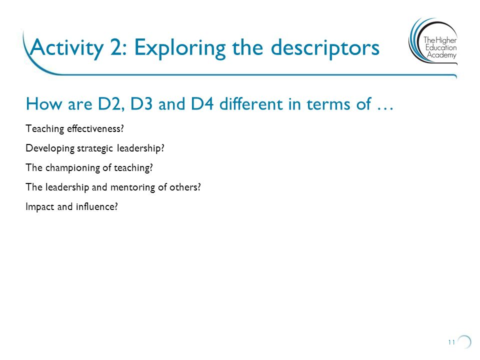 Activity 2: Exploring the descriptors How are D2, D3 and D4 different in terms of … Teaching effectiveness? Developing strategic leadership? The champ