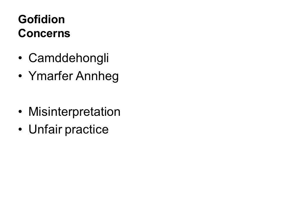 Gofidion Concerns Camddehongli Ymarfer Annheg Misinterpretation Unfair practice