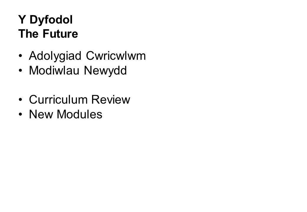 Y Dyfodol The Future Adolygiad Cwricwlwm Modiwlau Newydd Curriculum Review New Modules