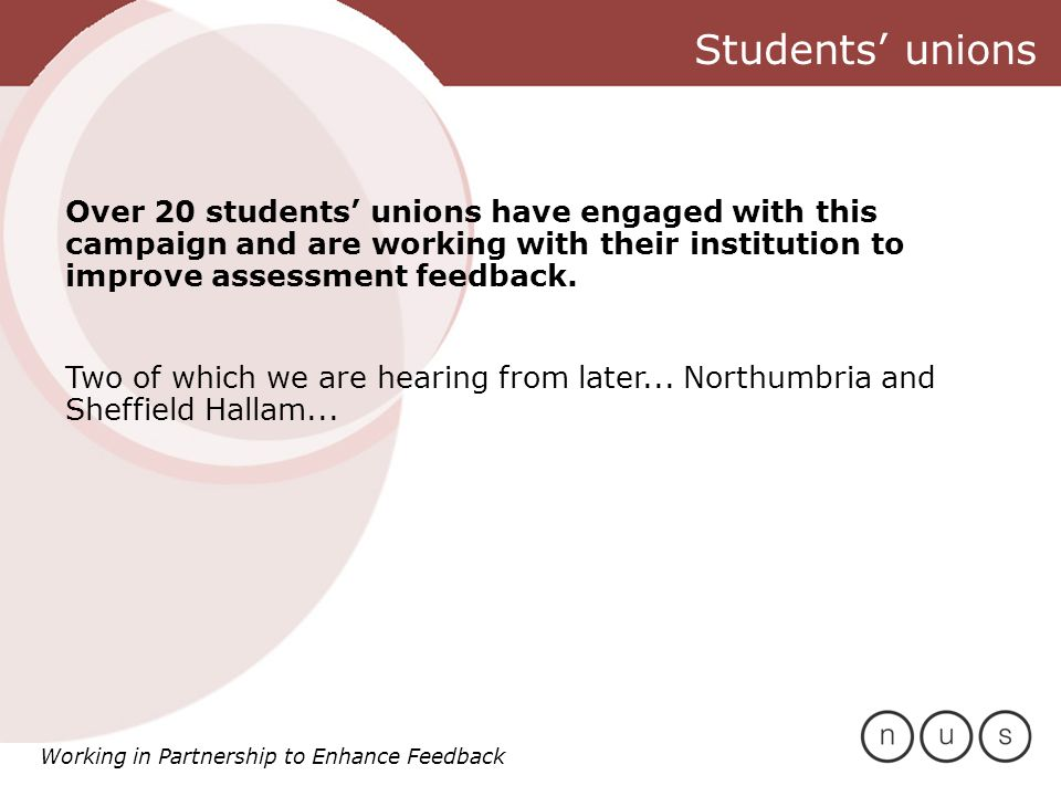 Working in Partnership to Enhance Feedback Any questions or points you would like to raise?
