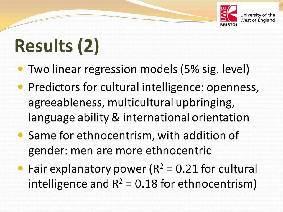 Results (2) Two linear regression models (5% sig.