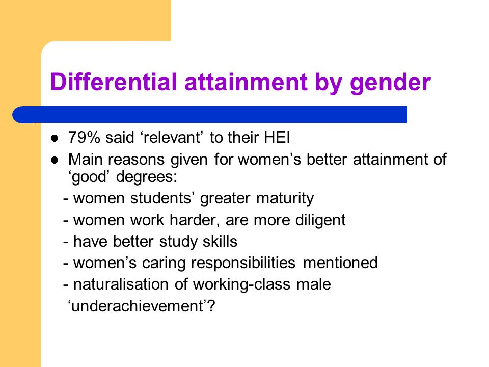 Differential attainment by gender 79% said relevant to their HEI Main reasons given for womens better attainment of good degrees: - women students greater maturity - women work harder, are more diligent - have better study skills - womens caring responsibilities mentioned - naturalisation of working-class male underachievement
