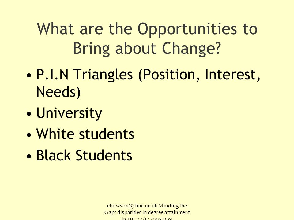 chowson@dmu.ac.uk Minding the Gap: disparities in degree attainment in HE 22/1/ 2008 IOS What are the Opportunities to Bring about Change.