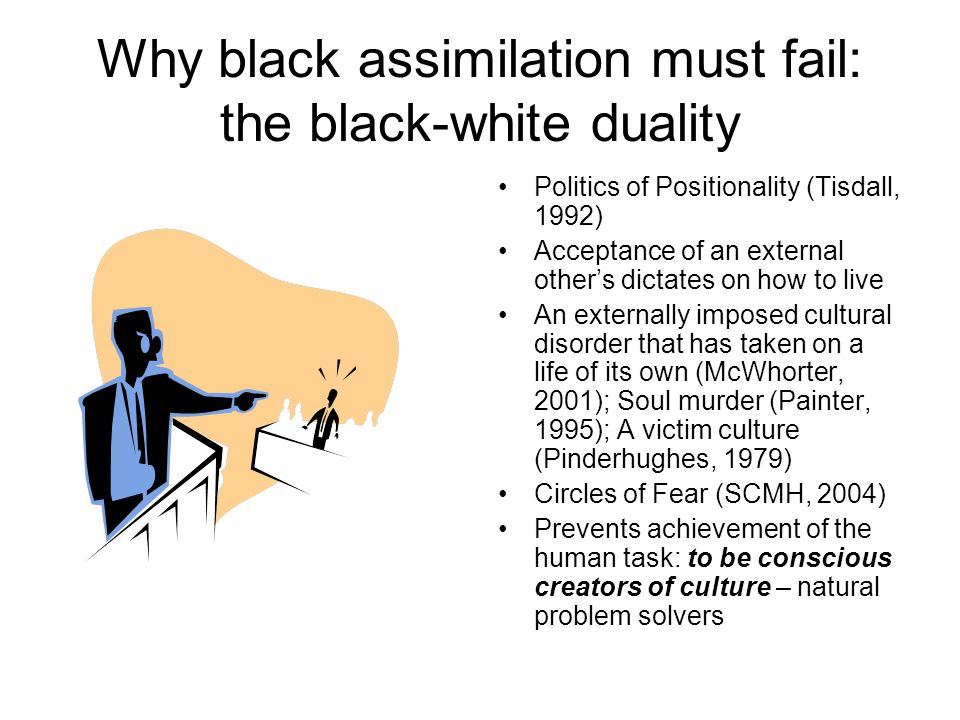 Why black assimilation must fail: the black-white duality Politics of Positionality (Tisdall, 1992) Acceptance of an external others dictates on how to live An externally imposed cultural disorder that has taken on a life of its own (McWhorter, 2001); Soul murder (Painter, 1995); A victim culture (Pinderhughes, 1979) Circles of Fear (SCMH, 2004) Prevents achievement of the human task: to be conscious creators of culture – natural problem solvers