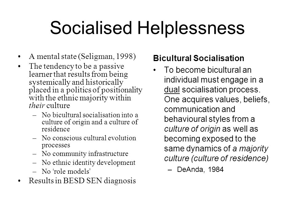 Socialised Helplessness A mental state (Seligman, 1998) The tendency to be a passive learner that results from being systemically and historically placed in a politics of positionality with the ethnic majority within their culture –No bicultural socialisation into a culture of origin and a culture of residence –No conscious cultural evolution processes –No community infrastructure –No ethnic identity development –No role models Results in BESD SEN diagnosis Bicultural Socialisation To become bicultural an individual must engage in a dual socialisation process.
