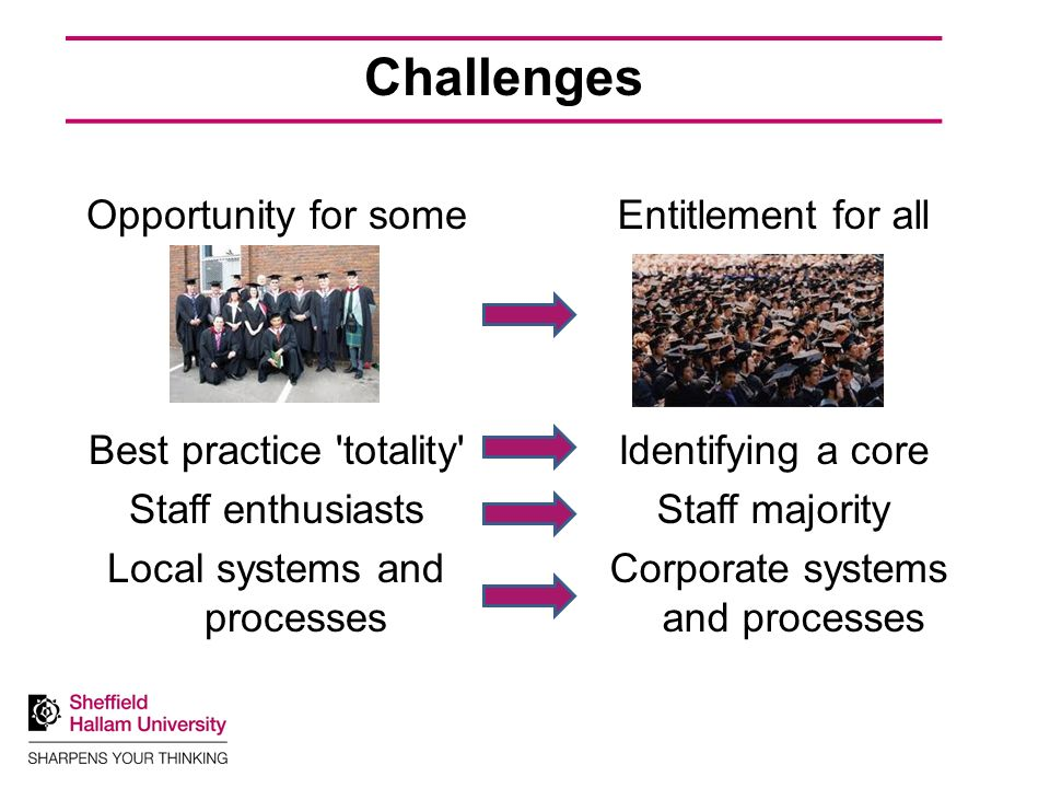 Challenges Opportunity for some Best practice totality Staff enthusiasts Local systems and processes Entitlement for all Identifying a core Staff majority Corporate systems and processes