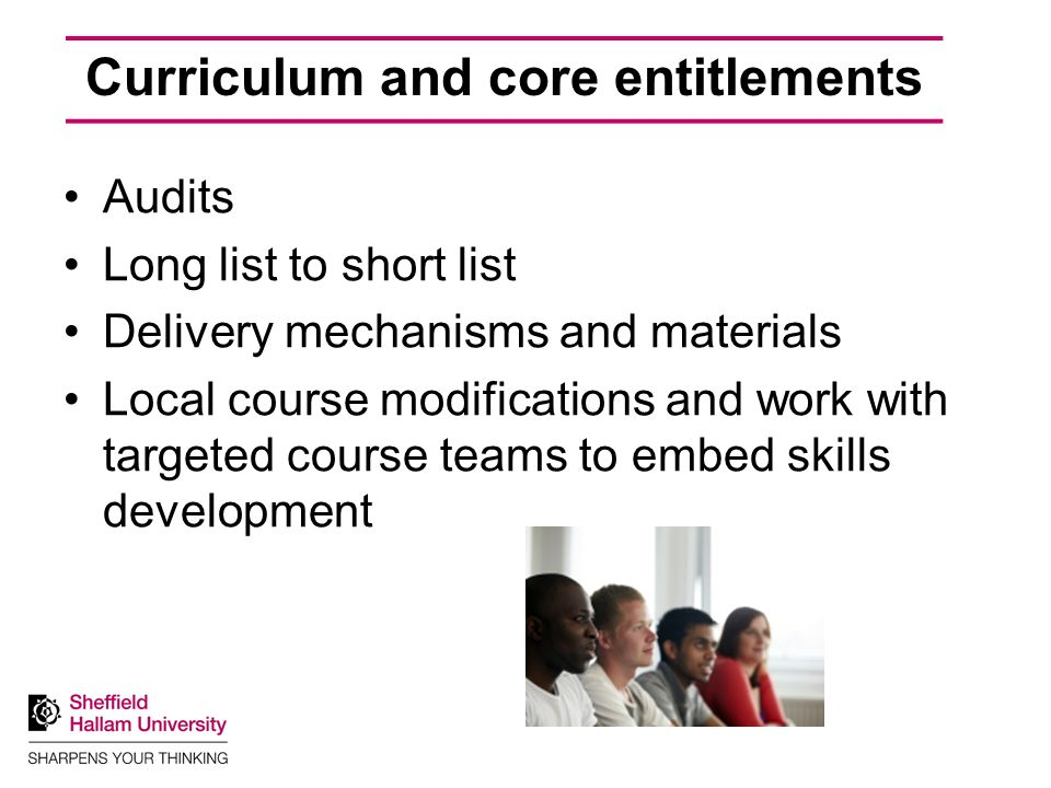 Curriculum and core entitlements Audits Long list to short list Delivery mechanisms and materials Local course modifications and work with targeted course teams to embed skills development