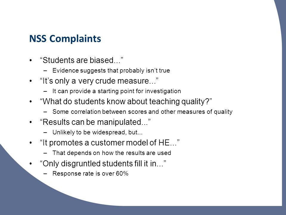 NSS Complaints Students are biased...