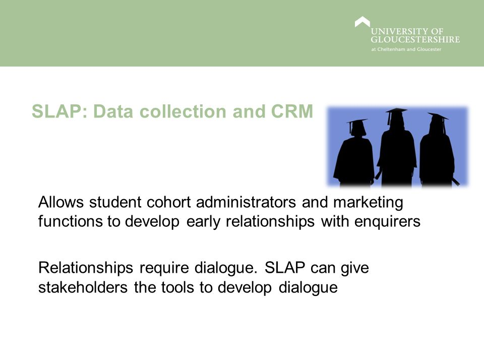 SLAP: Data collection and CRM Allows student cohort administrators and marketing functions to develop early relationships with enquirers Relationships require dialogue.