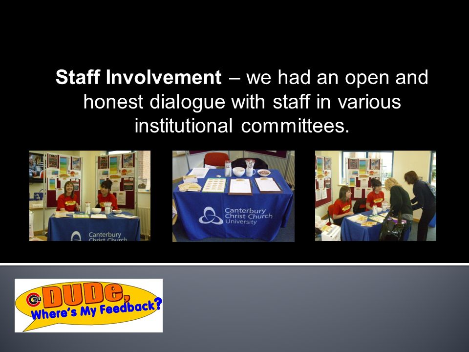 Staff Involvement – we had an open and honest dialogue with staff in various institutional committees.