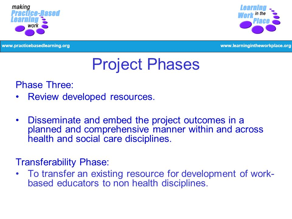 www.practicebasedlearning.orgwww.learningintheworkplace.org Project Phases Phase Three: Review developed resources. Disseminate and embed the project