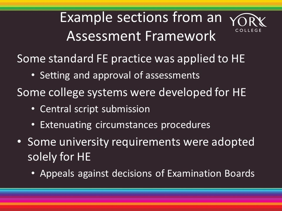 Example sections from an Assessment Framework Some standard FE practice was applied to HE Setting and approval of assessments Some college systems wer