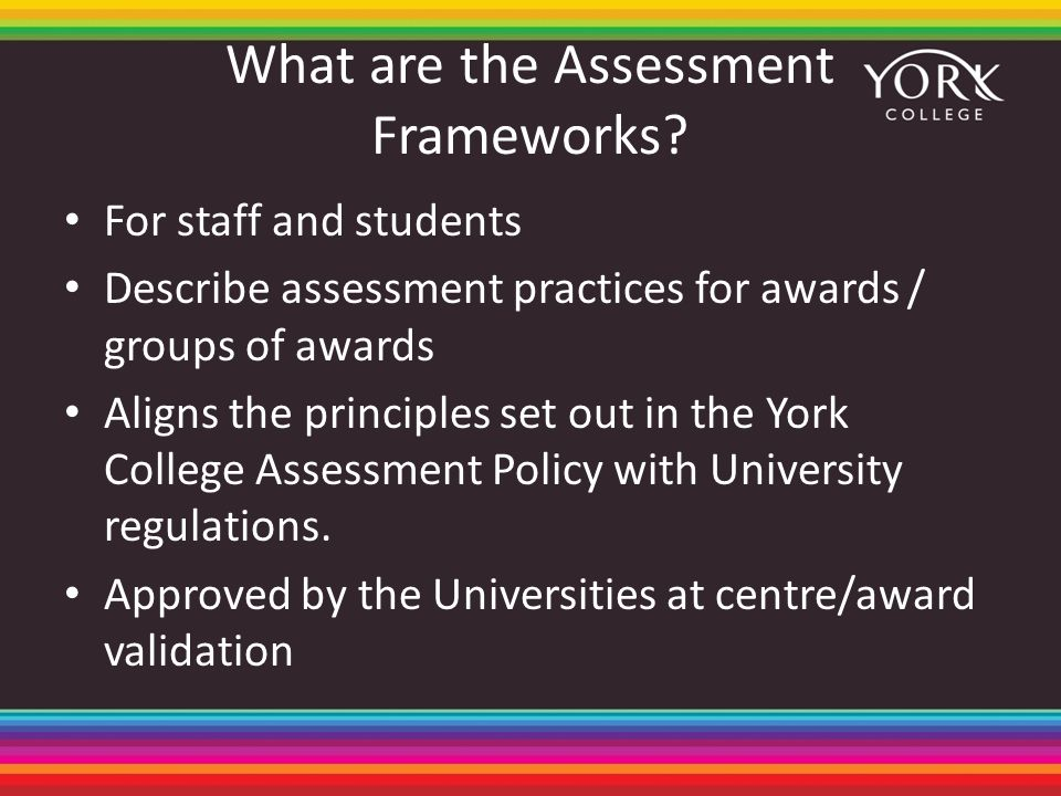 What are the Assessment Frameworks? For staff and students Describe assessment practices for awards / groups of awards Aligns the principles set out i
