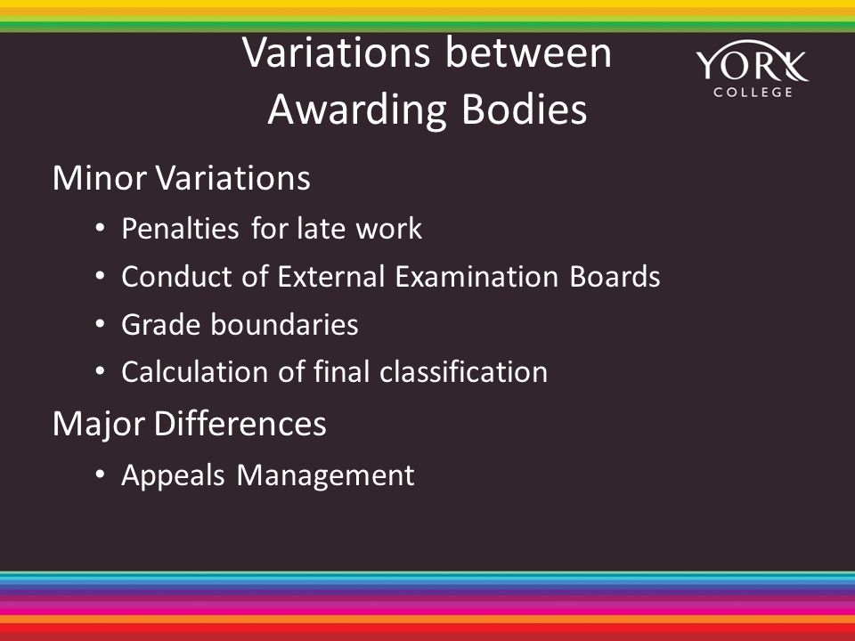 Variations between Awarding Bodies Minor Variations Penalties for late work Conduct of External Examination Boards Grade boundaries Calculation of final classification Major Differences Appeals Management