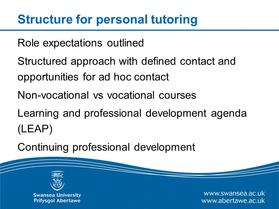 Structure for personal tutoring Role expectations outlined Structured approach with defined contact and opportunities for ad hoc contact Non-vocational vs vocational courses Learning and professional development agenda (LEAP) Continuing professional development