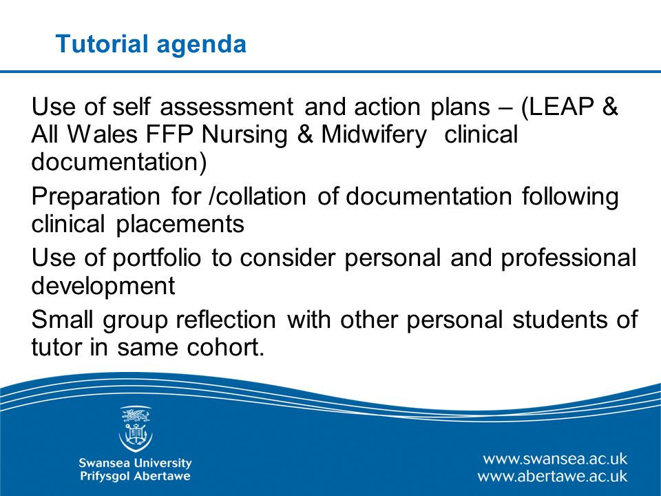 Tutorial agenda Use of self assessment and action plans – (LEAP & All Wales FFP Nursing & Midwifery clinical documentation) Preparation for /collation