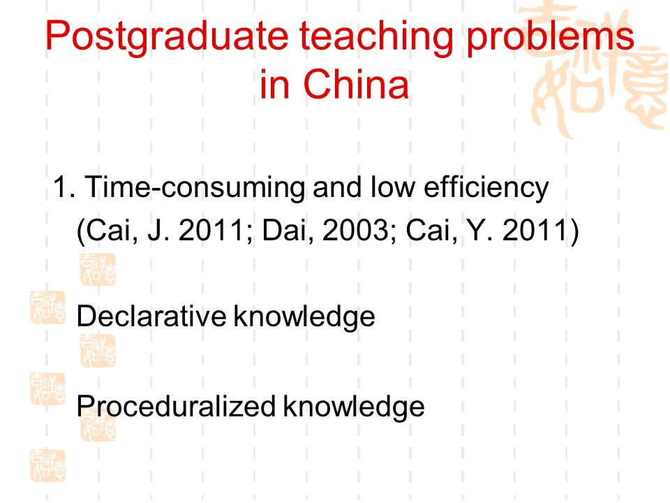 Postgraduate teaching problems in China 1. Time-consuming and low efficiency (Cai, J. 2011; Dai, 2003; Cai, Y. 2011) Declarative knowledge Procedurali