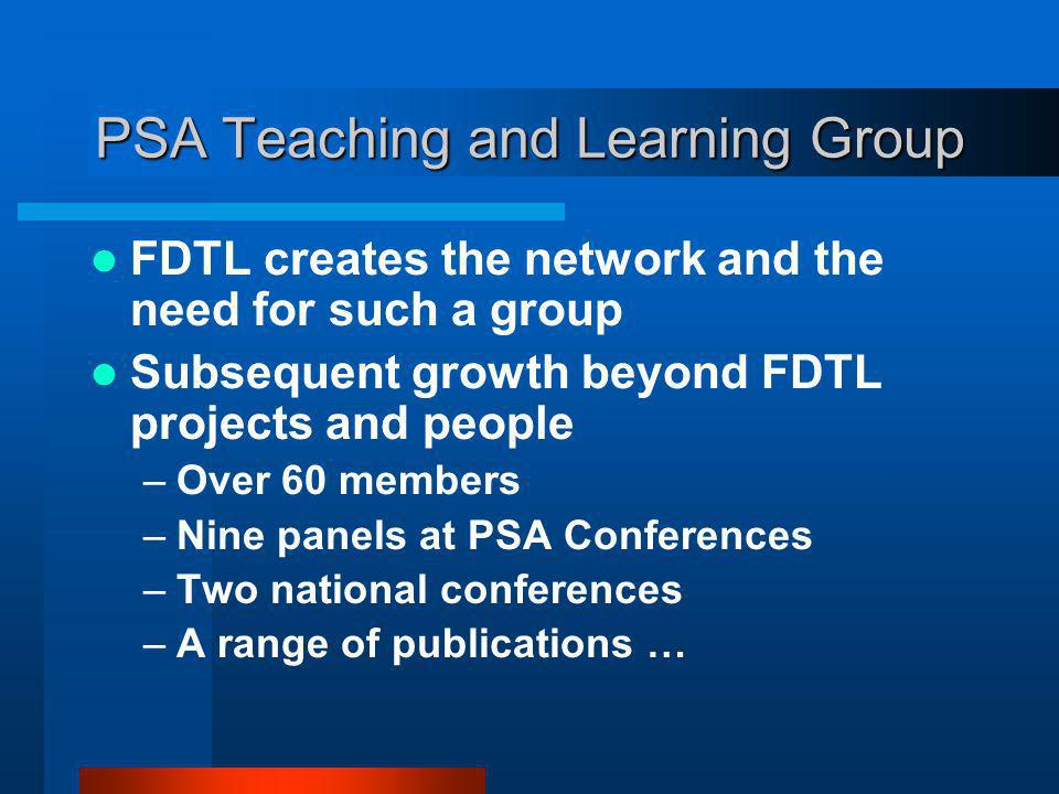 PSA Teaching and Learning Group FDTL creates the network and the need for such a group Subsequent growth beyond FDTL projects and people –Over 60 members –Nine panels at PSA Conferences –Two national conferences –A range of publications …