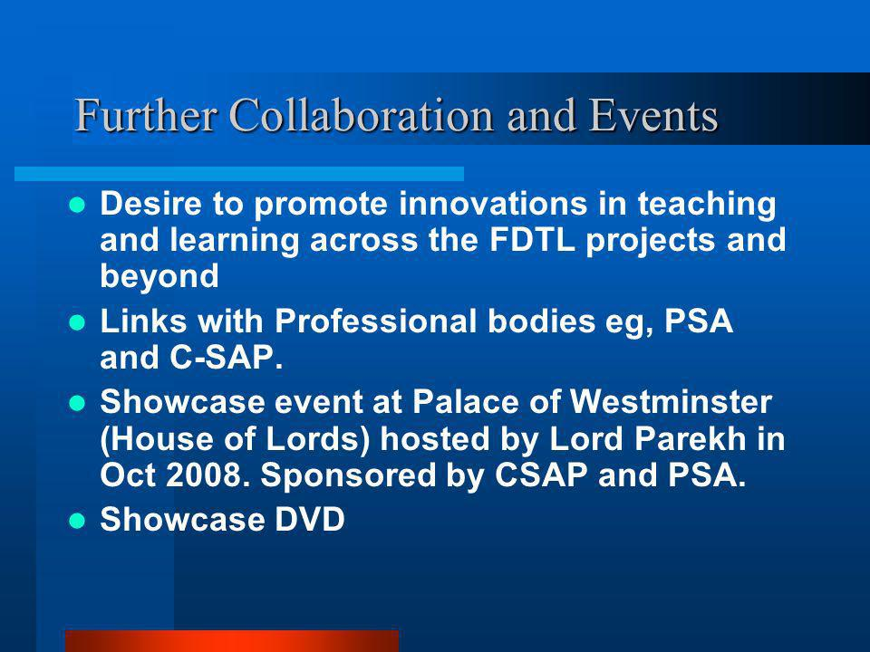 Further Collaboration and Events Desire to promote innovations in teaching and learning across the FDTL projects and beyond Links with Professional bodies eg, PSA and C-SAP.